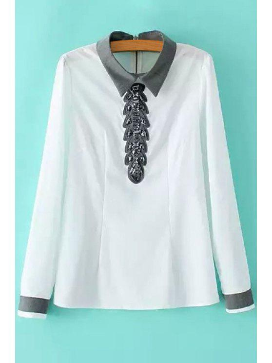 shop Bead Embellished Long Sleeve Shirt - WHITE S