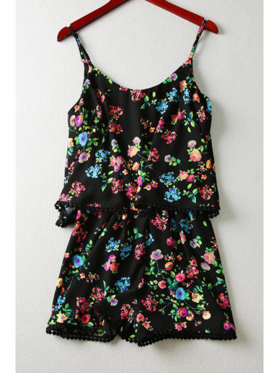 chic Tiny Floral Print Cami Playsuit - BLACK S