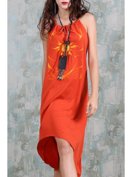 latest Spaghetti Strap Sun Print Irregular Hem Dress - ORANGE ONE SIZE(FIT SIZE XS TO M)