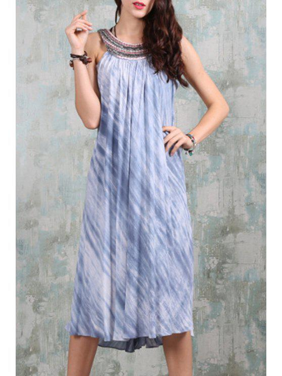 unique Beaded Backless Tie-Dyed Flare Dress - BLUE AND WHITE M