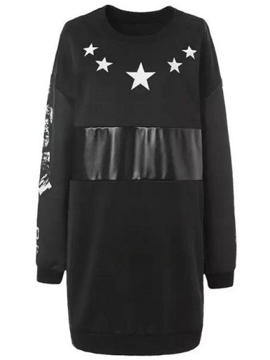 outfit White Star Print Long Sleeve Dress - BLACK L