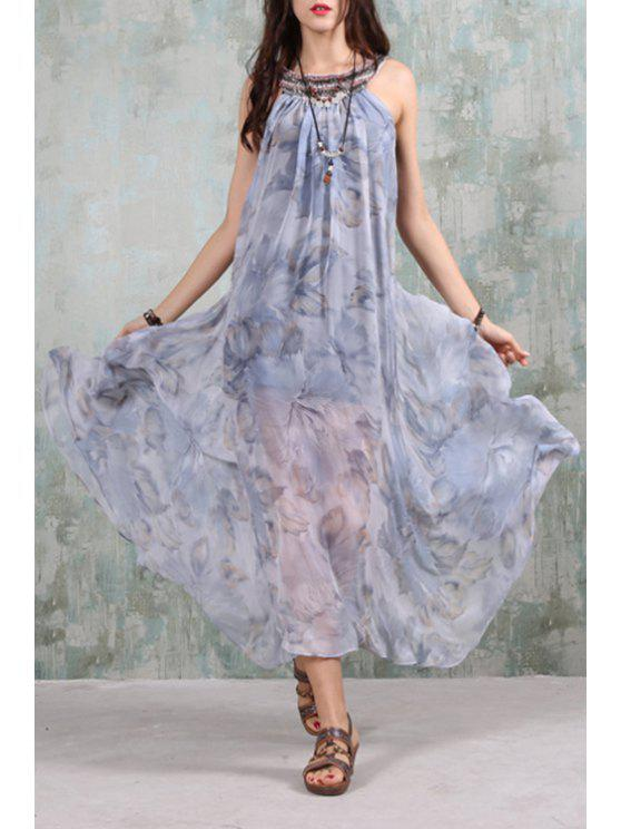 fashion A-Line Backless Beaded Chiffon Dress - BLUE AND WHITE ONE SIZE(FIT SIZE XS TO M)