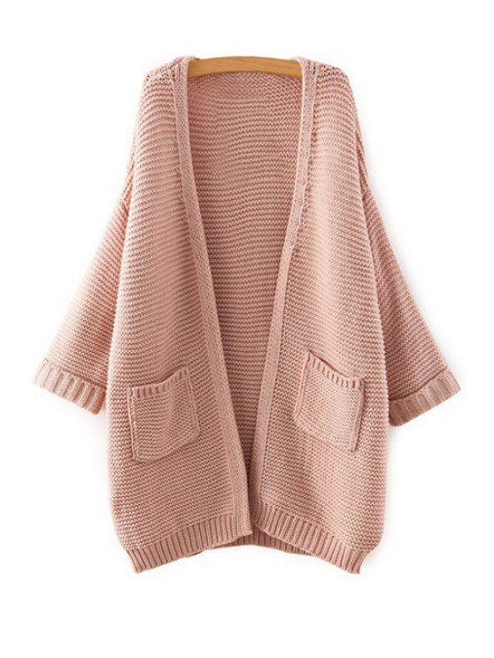 outfits Collarless Long Sleeve Pocket Cardigan - PINK ONE SIZE(FIT SIZE XS TO M)