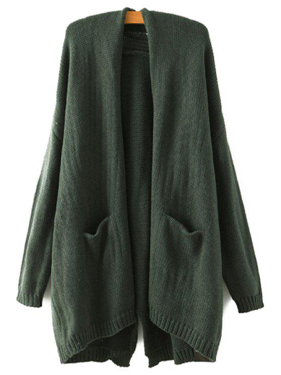 shops Back Slit Pocket Long Sleeve Cardigan - GREEN ONE SIZE(FIT SIZE XS TO M)