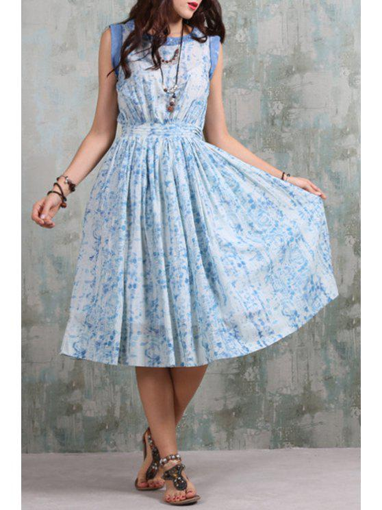 online Sleeveless Printed Loose-Fitting Midi Dress - BLUE AND WHITE S