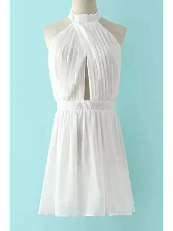 fashion Halter Neck Ruffles Backless Sleeveless Dress - WHITE S