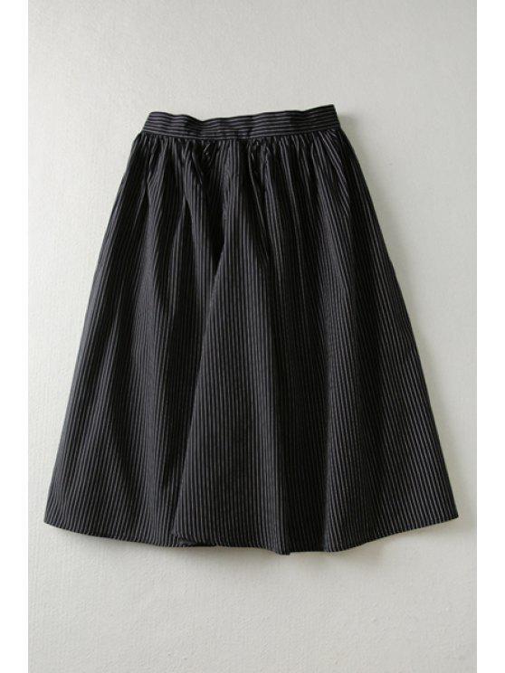 latest Stripes High Waisted A Line Skirt - BLACK S