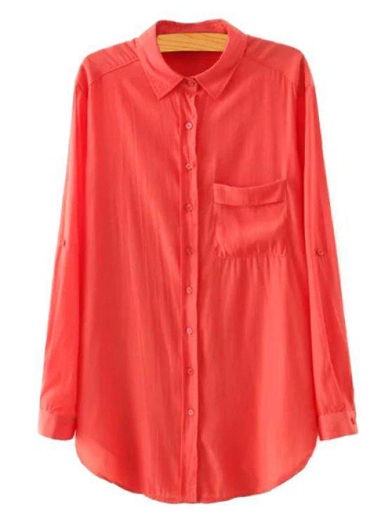 online Polo Collar Pocket Solid Color Shirt - JACINTH S