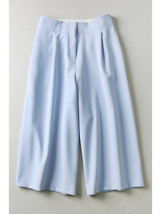 fashion Blue High Waisted Capri Pants - BLUE M
