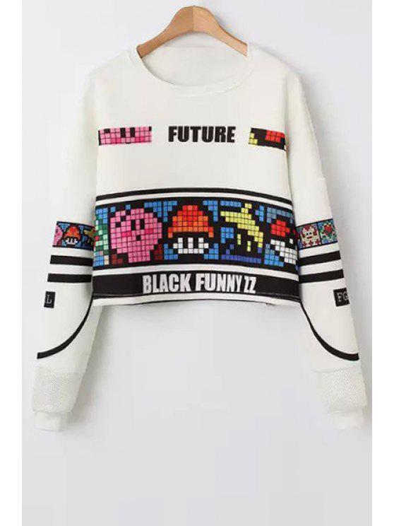 shops Colorful Plaid Print Long Sleeve Sweatshirt - WHITE M