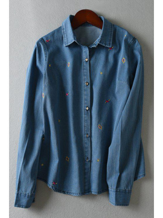 best Embroidery Shirt Neck Long Sleeve Shirt - LIGHT BLUE M
