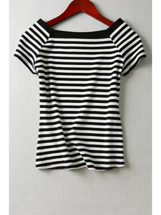 new Striped Knit Short Sleeve T-Shirt - WHITE AND BLACK S