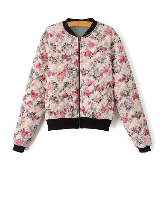 women Floral Print Zipper Long Sleeve Jacket - COLORMIX S
