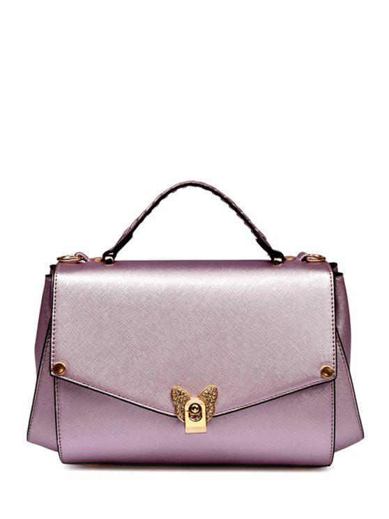shops Rivets Metal PU Leather Crossbody Bag - PINK