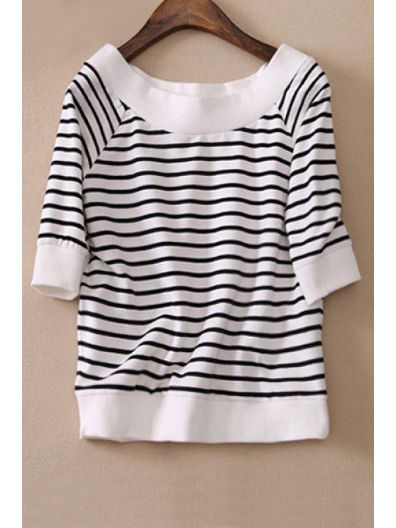 outfits Striped Scoop Neck Half Sleeve T-Shirt - WHITE AND BLACK S
