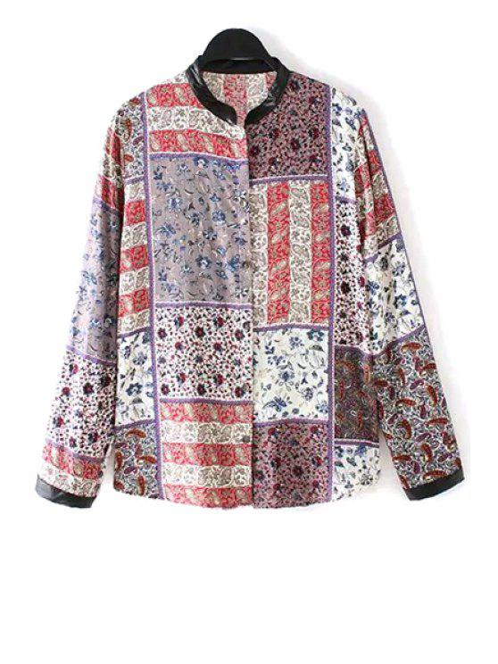 affordable Stand-Up Collar Tiny Floral Print Plaid Shirt - COLORMIX M