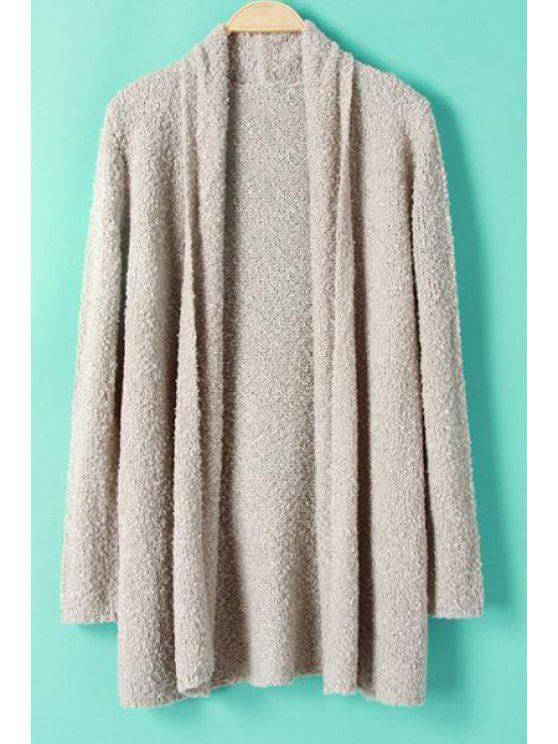 hot Turn-Down Collar Solid Color Long Sleeve Cardigan - GRAY S