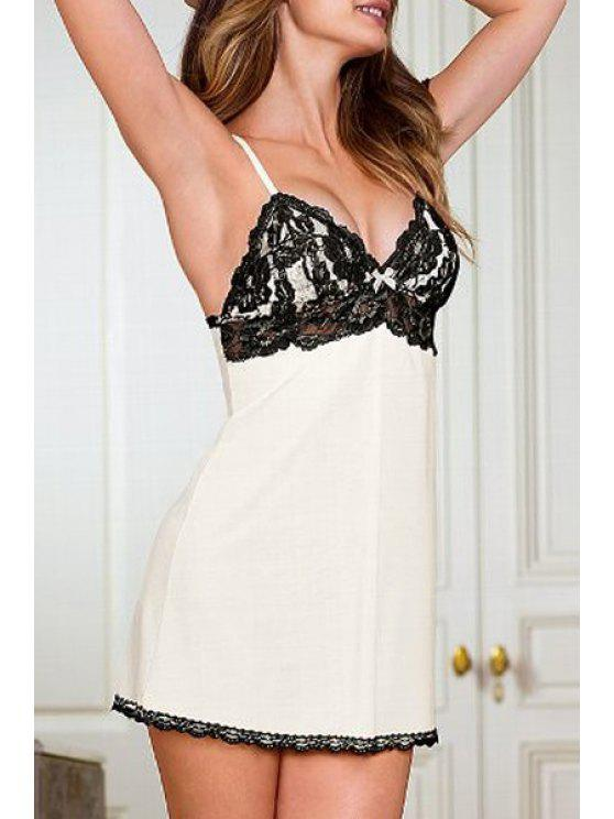 fashion Lace Splicing Spaghetti Strap Babydoll - CRYSTAL CREAM ONE SIZE(FIT SIZE XS TO M)