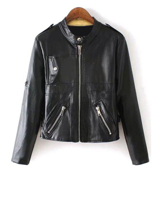 shop Black Faux Leather Long Sleeve Coat - BLACK S