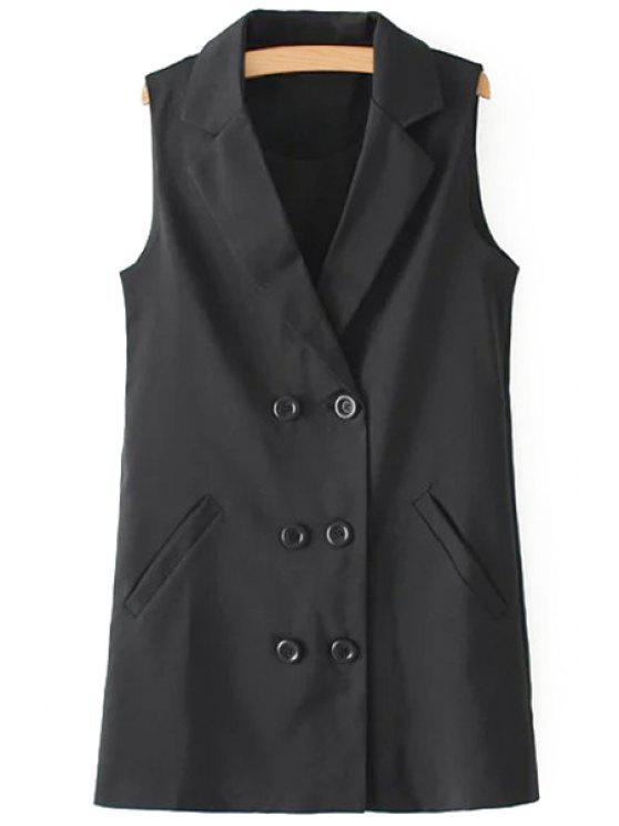 chic Lapel Double-Breasted Pocket Waistcoat - BLACK S