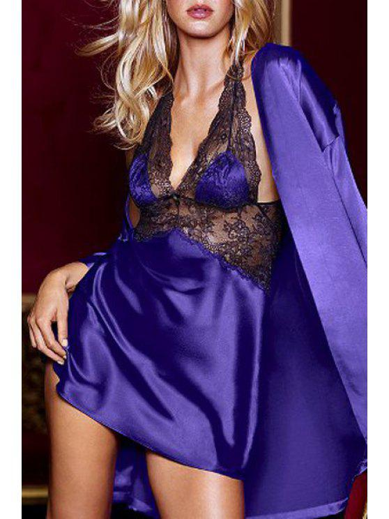 hot Lace Spliced Cami Hollow Babydoll - PURPLE ONE SIZE(FIT SIZE XS TO M)