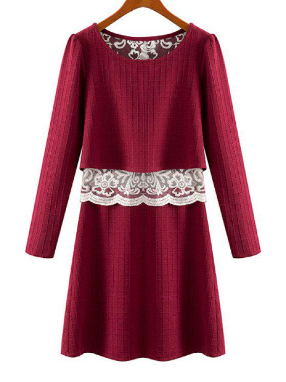 best Lace Splicing See-Through Long Sleeve Dress - WINE RED S
