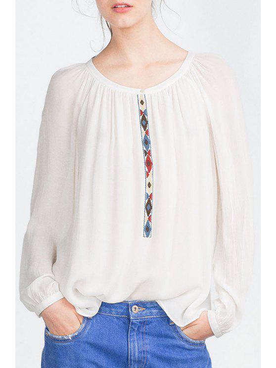 chic Embroidered Loose-Fitting Blouse - WHITE L