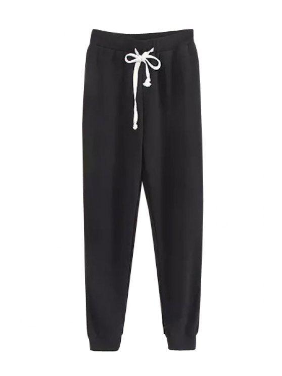 Pantalones de color sólido Tie-Up - Negro L