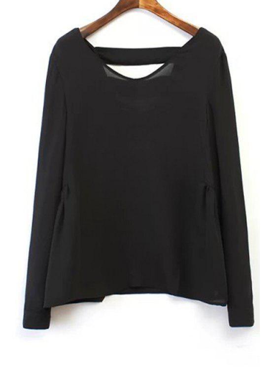 trendy Black Backless Long Sleeve Blouse - BLACK M