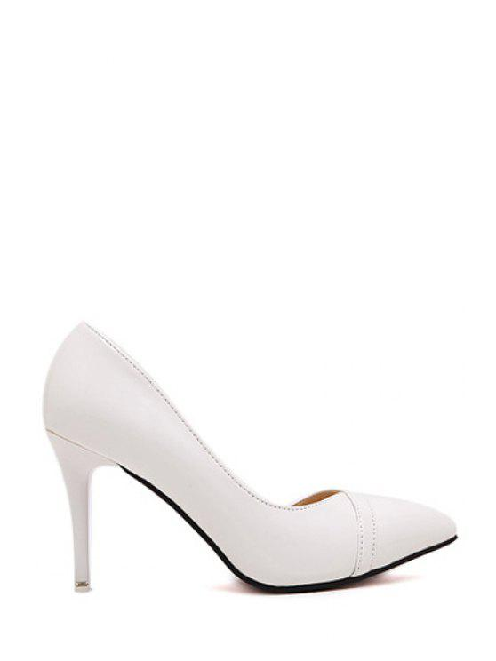 women Solid Color Stiletto Heel Pointed Toe Pumps - WHITE 35