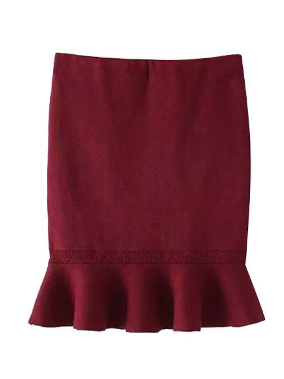 online Solid Color Flounce Splicing Skirt - RED ONE SIZE(FIT SIZE XS TO M)