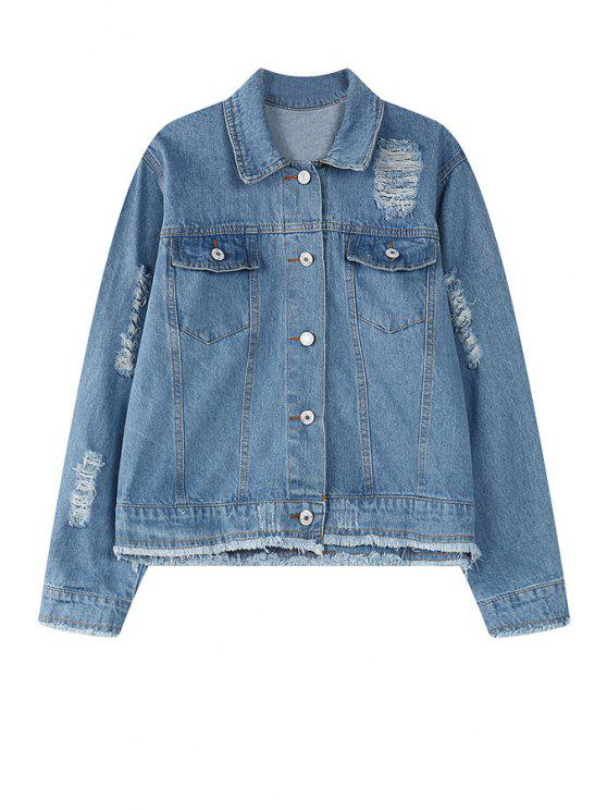 fancy Pure Color Long Sleeve Denim Jacket - BLUE ONE SIZE(FIT SIZE XS TO M)