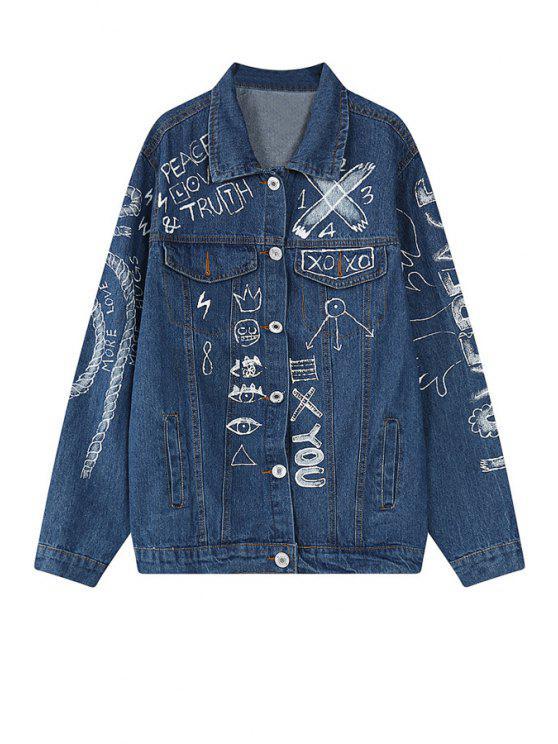 sale Scrawl Print Long Sleeve Blue Jacket - BLUE ONE SIZE(FIT SIZE XS TO M)