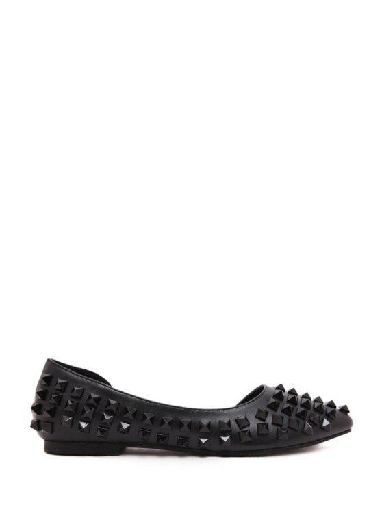 online Rivets Black PU Leather Flat Shoes - BLACK 35