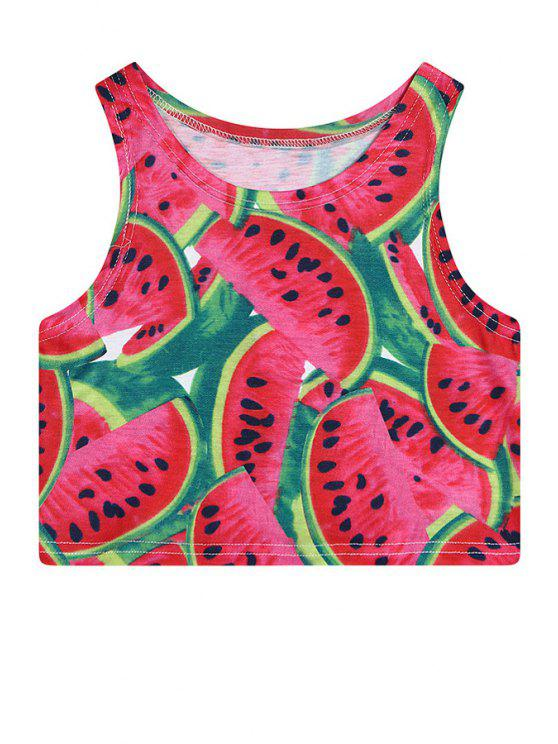 sale Watermelon Print Sleeveless Crop Top - RED ONE SIZE(FIT SIZE XS TO M)
