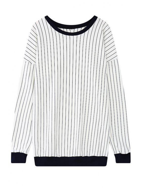 womens Striped Scoop Neck Long Sleeve Sweatshirt - BLACK ONE SIZE(FIT SIZE XS TO M)