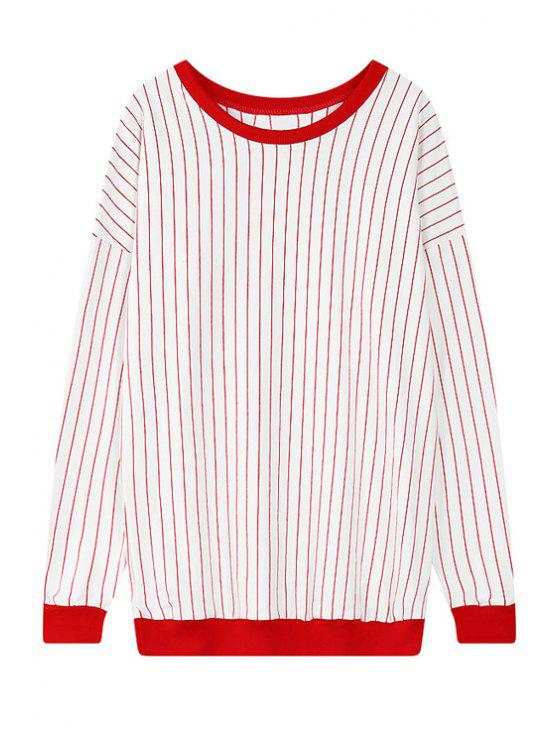 sale Striped Scoop Neck Long Sleeve Sweatshirt - RED ONE SIZE(FIT SIZE XS TO M)