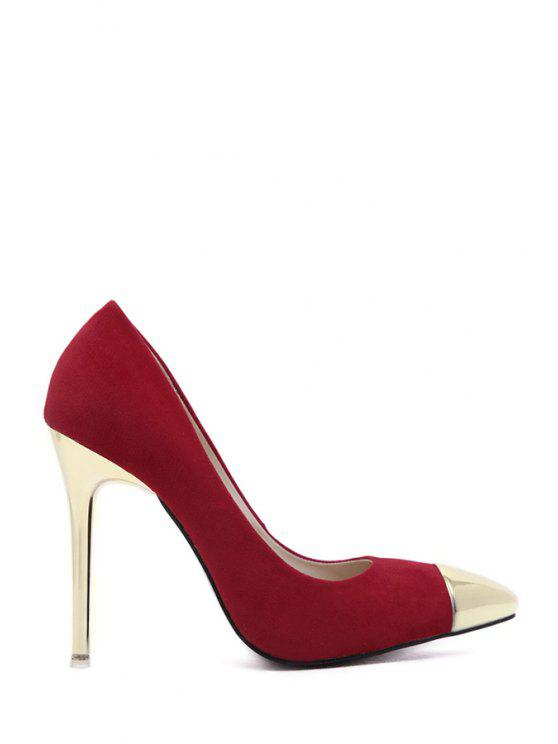 sale Metal Toe Suede Pointed Toe Pumps - WINE RED 34