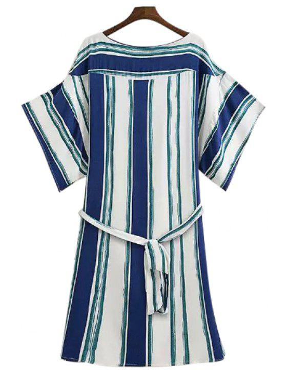 new Wide Sleeve Striped Loose-Fitting Dress - GREEN M