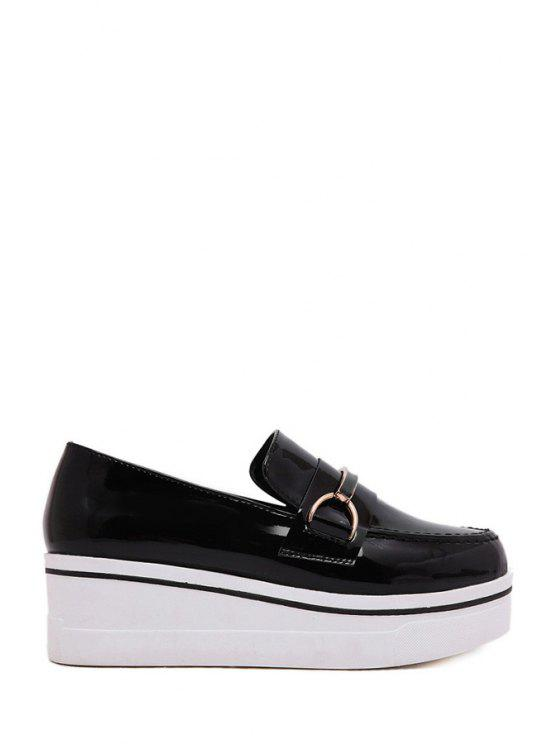 buy Patent Leather Round Toe Platform Shoes - BLACK 35