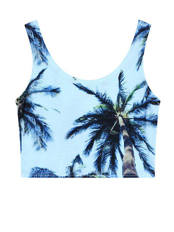 online Coconut Palm Print Sleeveless Crop Top - BLUE ONE SIZE(FIT SIZE XS TO M)