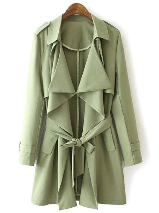Solid Color Epaulet e Pocket Design Trench Coat - Verde L