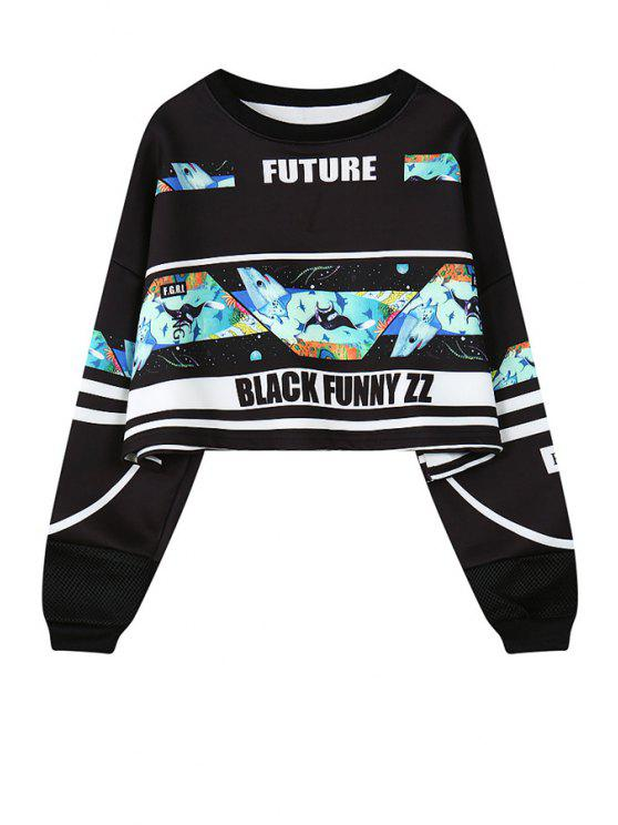 new Shark Print Long Sleeve Sweatshirt - BLACK ONE SIZE(FIT SIZE XS TO M)