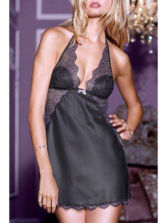 ladies Halter Neck Lace Splicing See-Through Lingeries - BLACK ONE SIZE(FIT SIZE XS TO M)