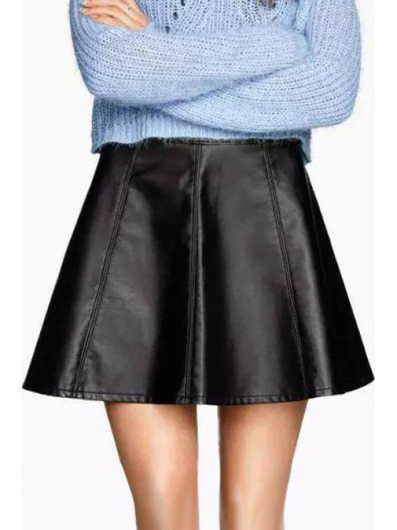 unique High-Waisted Black PU Leather Skirt - BLACK S