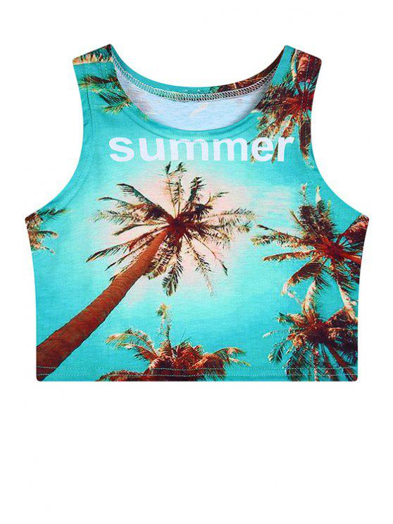 new Coconut Trees Print Scoop Neck Crop Top - AZURE ONE SIZE(FIT SIZE XS TO M)