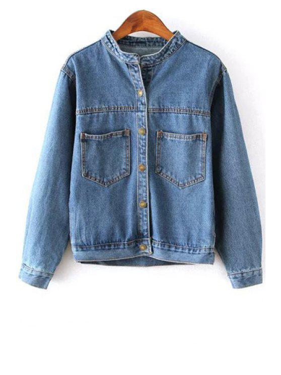 outfits Single-Breasted Bleach Wash Denim Coat - BLUE S