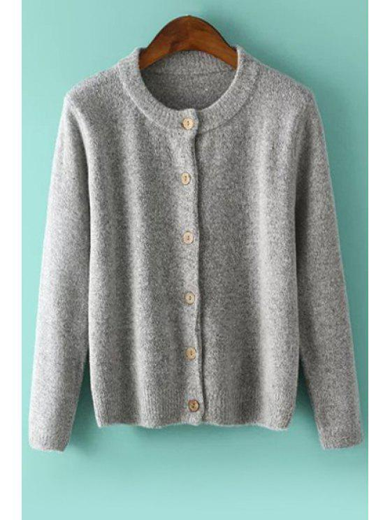online Pure Color Single-Breasted Cardigan - GRAY ONE SIZE(FIT SIZE XS TO M)