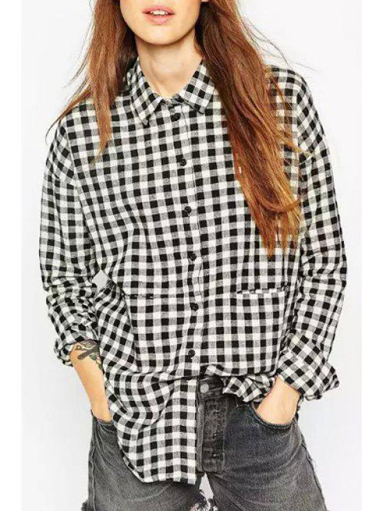 unique White Black Checked Long Sleeve Shirt - WHITE AND BLACK S