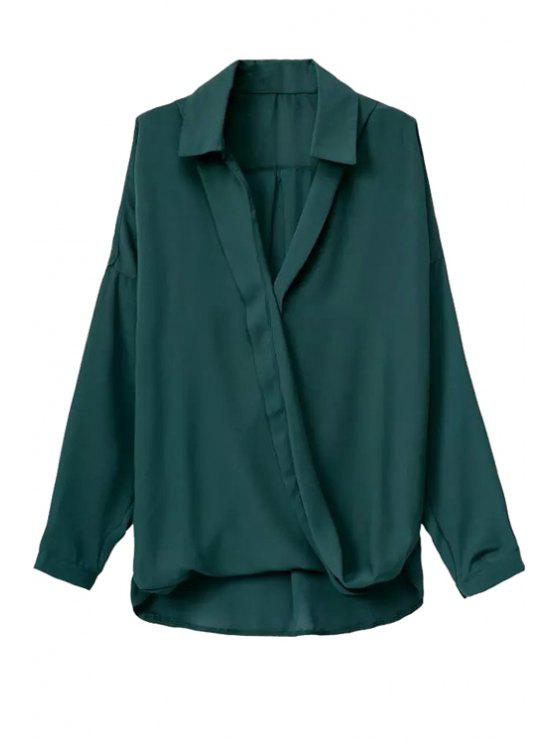 online Solid Color Cross Over Loose-Fitting Shirt - GREEN S